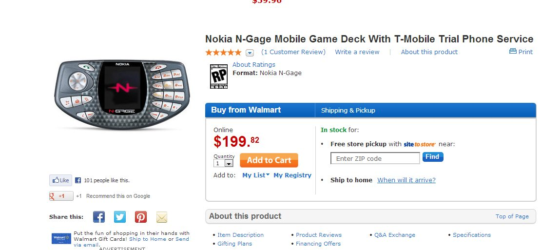 You can still buy the Ngage at Walmart