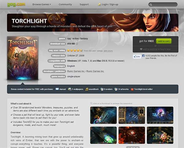 Torchlight 1 is now free on GoG